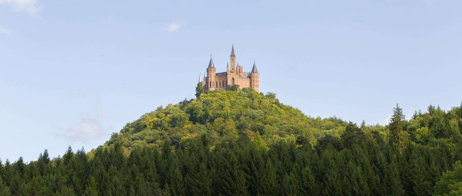 Aerial view of famous Hohenzollern Castle, ancestral seat of the. Imperial House of Hohenzollern and one of Europe`s most visited castles, Baden-Wurttemberg stock photo