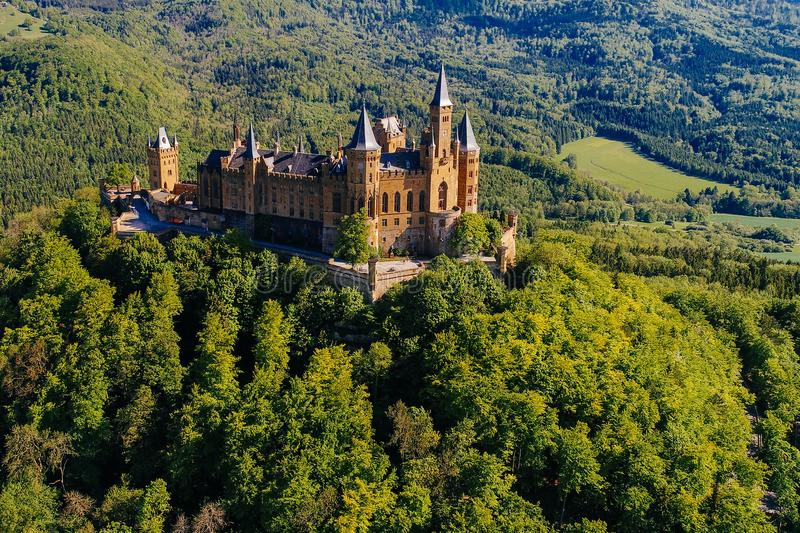 Aerial view of famous Hohenzollern Castle. Germany. Photo taken with Drone royalty free stock photography