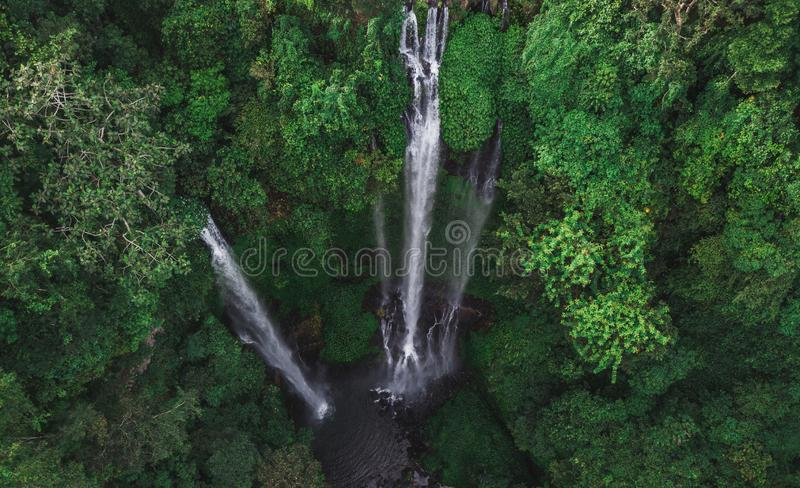 Aerial view of famous Sekumpul waterfalls in Bali. Indonesia. Tropical jungle rainforest stock photography