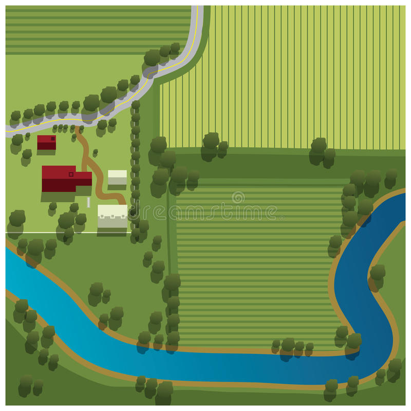 Aerial view of farm. Overhead illustration of farm by river in countryside