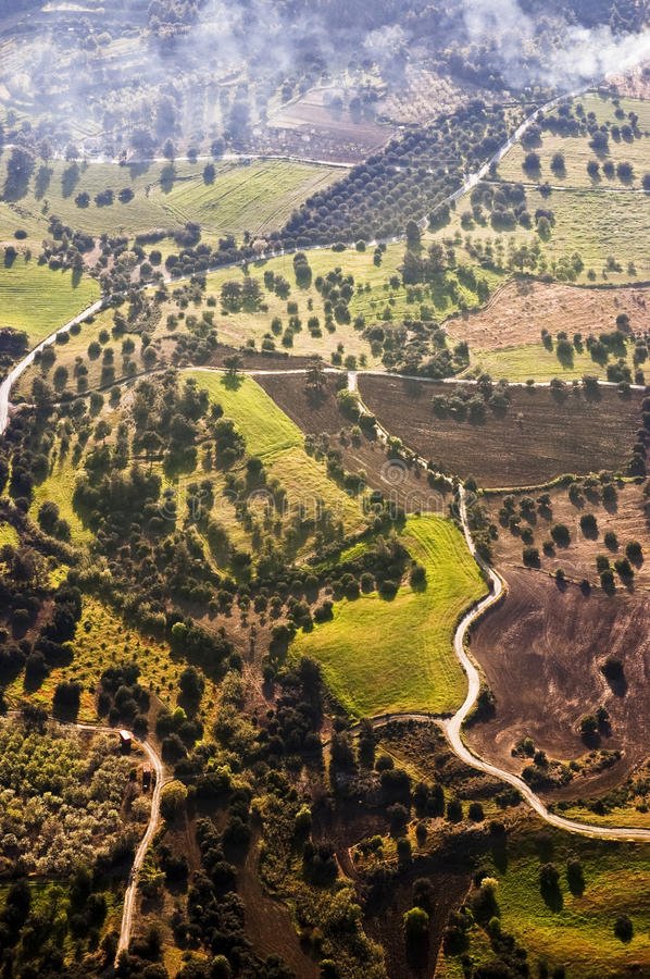 Aerial view of farm fields royalty free stock images