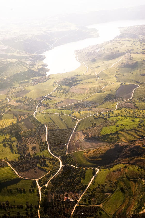 Aerial view of farm fields stock photos
