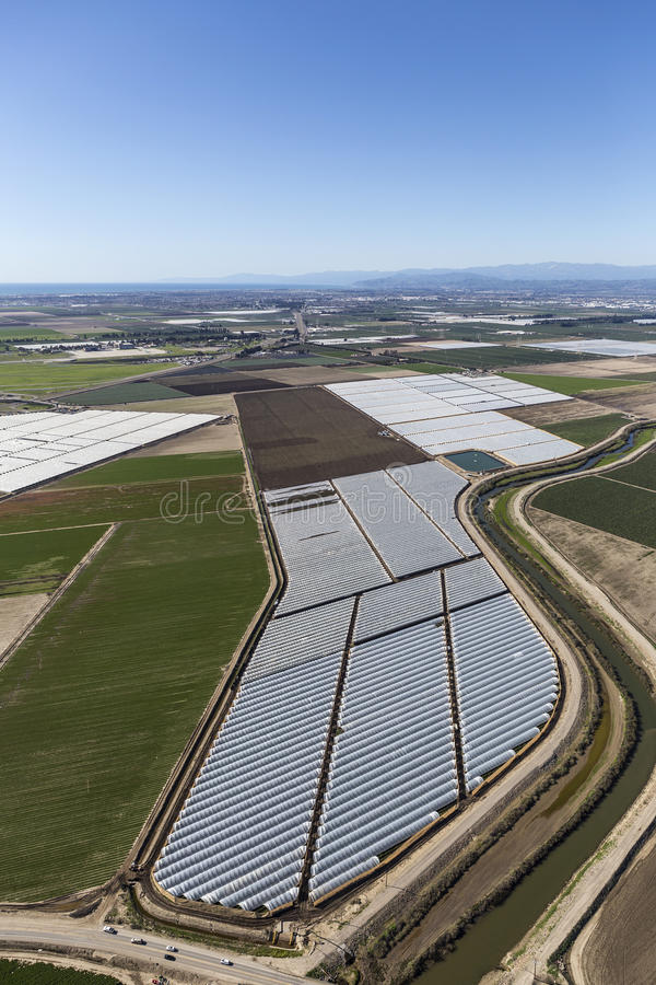 Aerial View of Farm Fields near Oxnard and Camarillo California. Aerial view of farm fields near Oxnard and Camarillo, California stock image