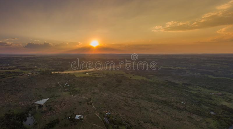 Sunset over the Bronberg Mountains royalty free stock photography