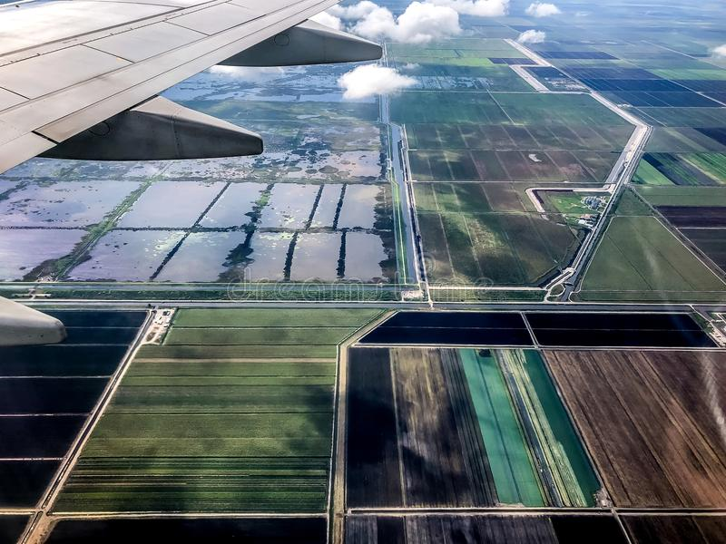 Farmlands in south Florida. Aerial view of farm land in South Florida stock photos