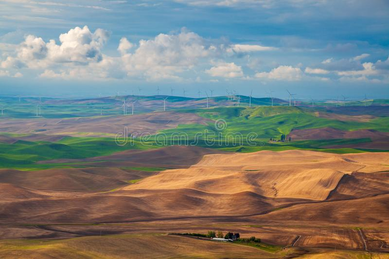 Aerial view of the farmland in the Palouse region of Eastern Washington state royalty free stock photos