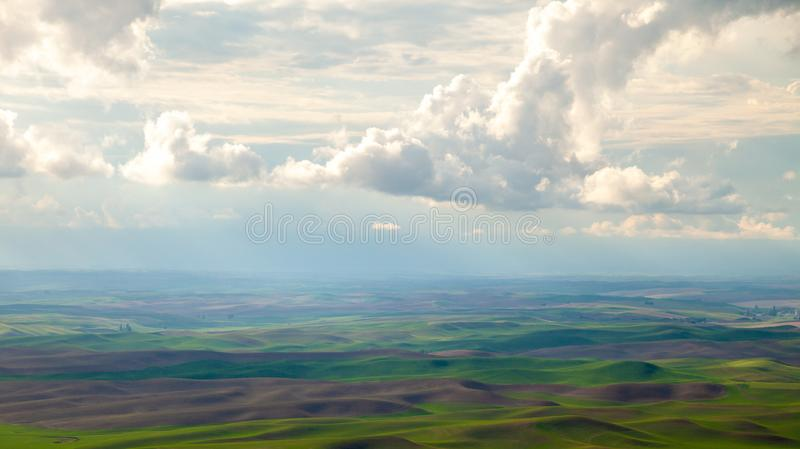 Aerial view of the farmland in the Palouse region of Eastern Washington state stock image