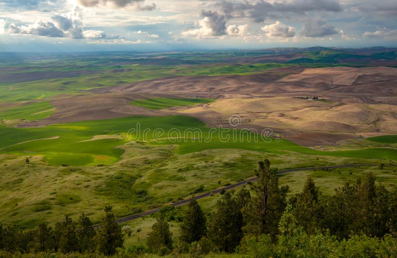 Aerial view of the farmland in the Palouse region of Eastern Washington state royalty free stock photo