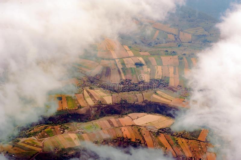 Aerial view Farmland in Tanzania royalty free stock photo