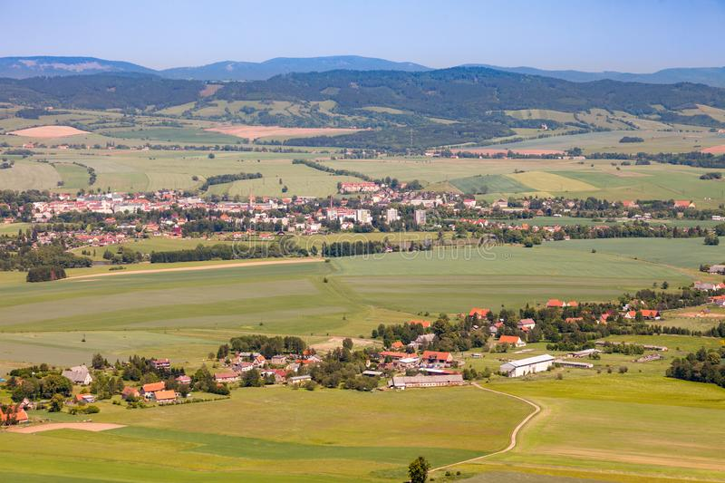 Aerial view of farmland and villages in the Czech countryside royalty free stock images