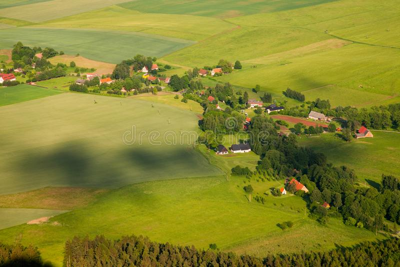 Aerial view of farmland and villages in the Czech countryside royalty free stock image