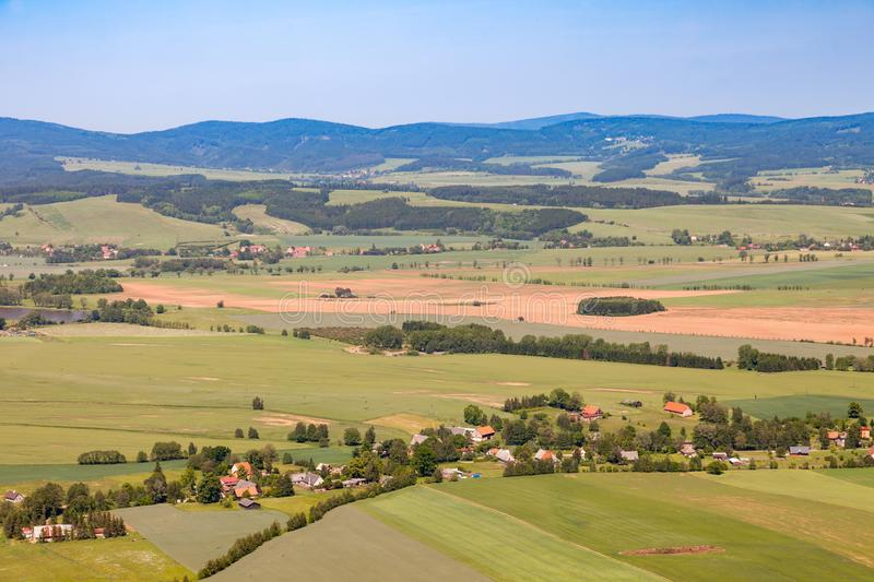Aerial view of farmland and villages in the Czech countryside stock image