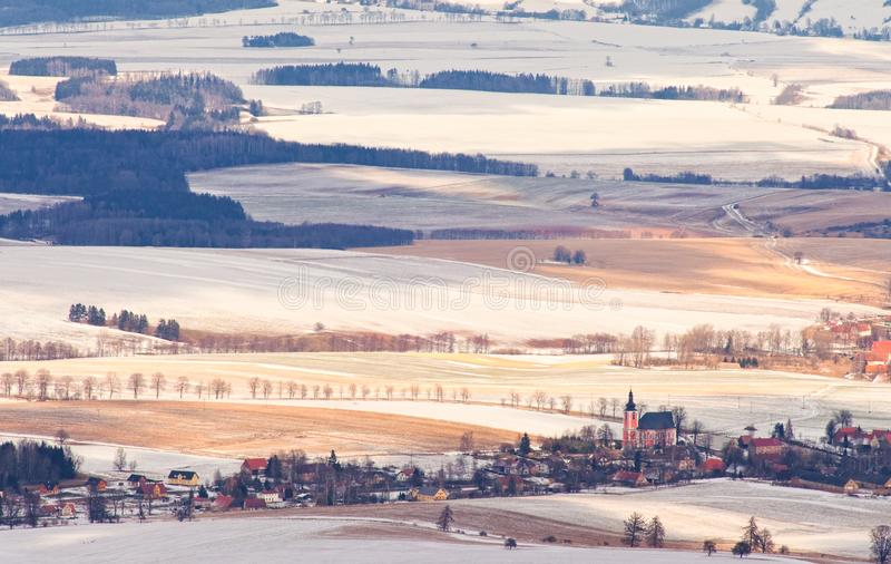 Aerial view of farmland and villages in the Czech countryside in winter royalty free stock photography