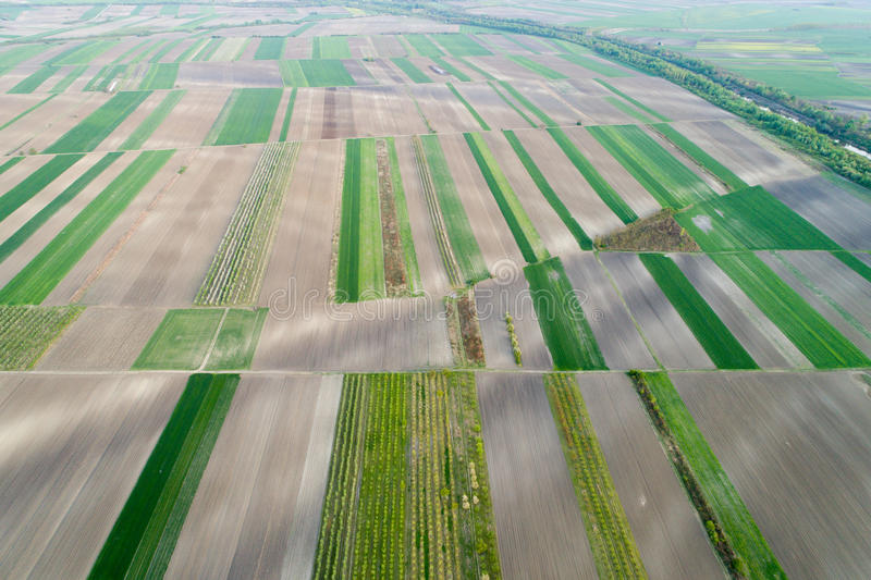 Aerial view of farmlands royalty free stock images