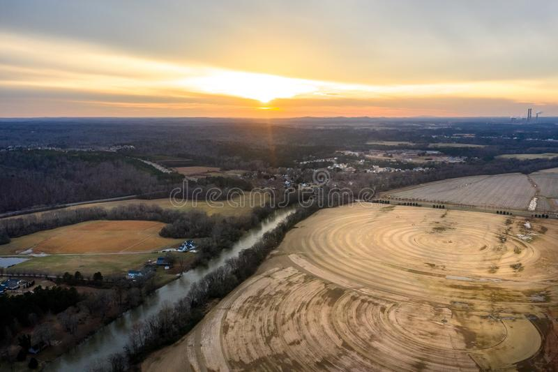 Aerial view of farms and concentric circles in Cartersville Georgia stock photography