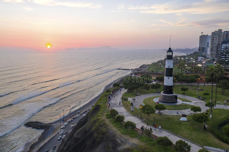 Aerial view of Faro la Marina located in Miraflores`s park by the ocean in Lima, Peru. royalty free stock photos