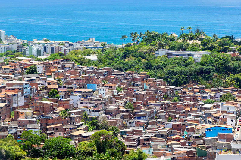 Aerial View of Favela (Shanty Town) in Salvador, Bahia, Brazil stock image