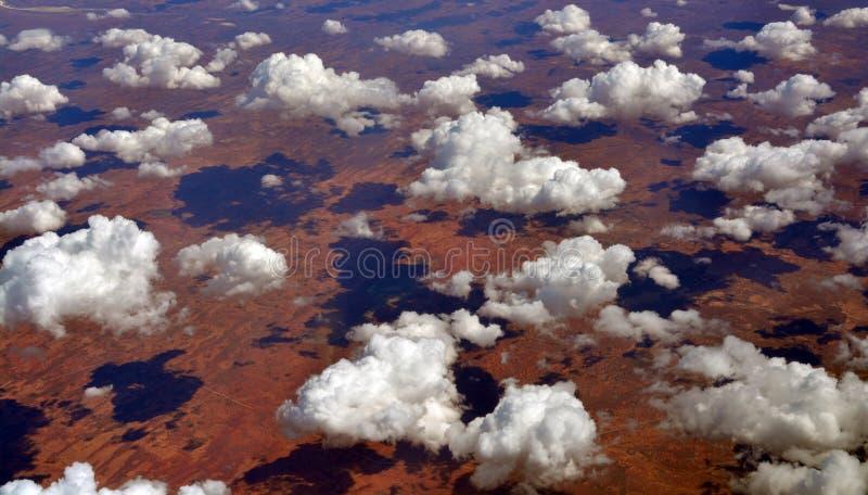 Aerial view from 35,000 feet of Tallaringa Desert Australia royalty free stock photo