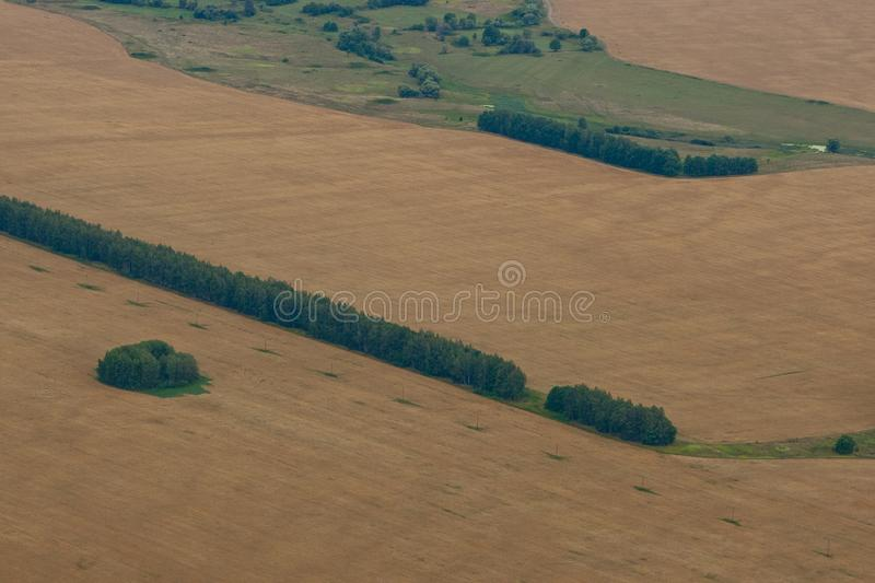 Aerial view on the field stock images
