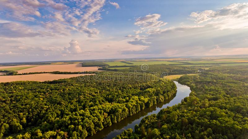 Aerial View Of Fields Forest River Stock Image Image Of