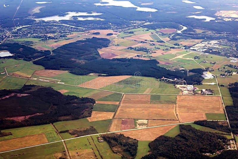 Aerial view of fields near Riga, Latvia stock photography