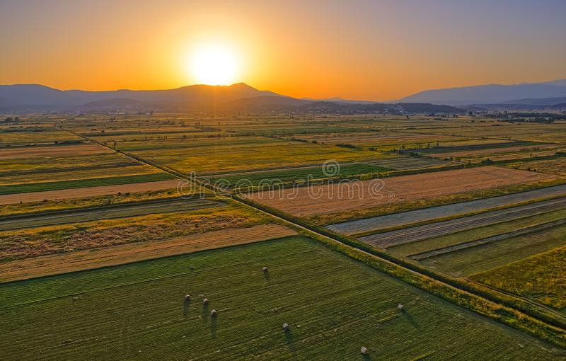 Aerial view of the fields near Sinj with hay bales in the countryside, Croatia royalty free stock image