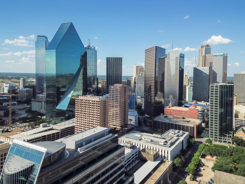 Aerial view Downtown Dallas skyscrapers under cloud blue sky stock photos