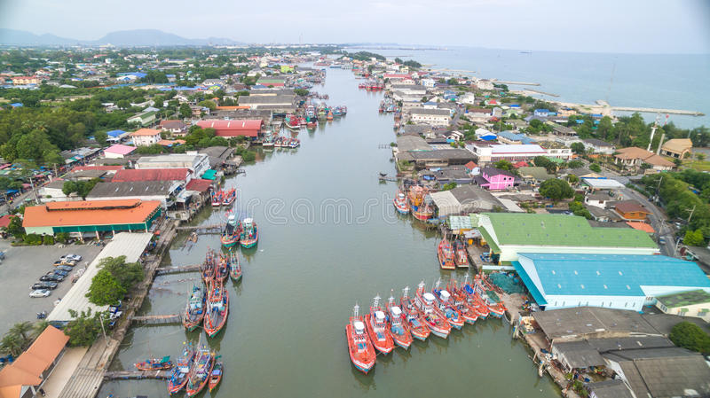 Aerial view of Fisherman village. In Thailand royalty free stock photo