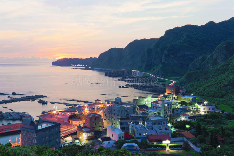 Aerial view of a fishing village at dawn on northern coast of Taipei Taiwan royalty free stock photos