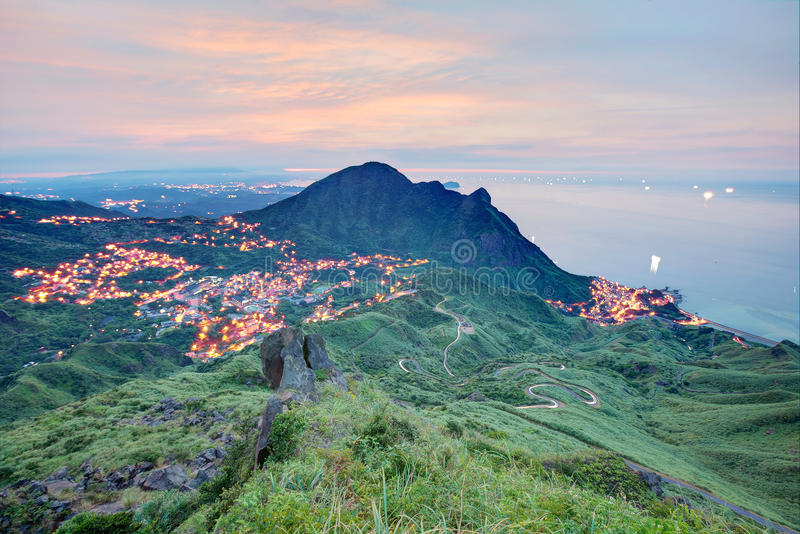 Aerial view of a fishing village at dusk on northern coast of Taipei Taiwan stock image