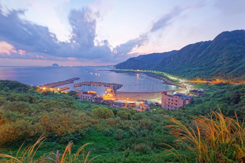 Aerial view of a fishing village at sunrise on the coast north to Taipei Taiwan stock images