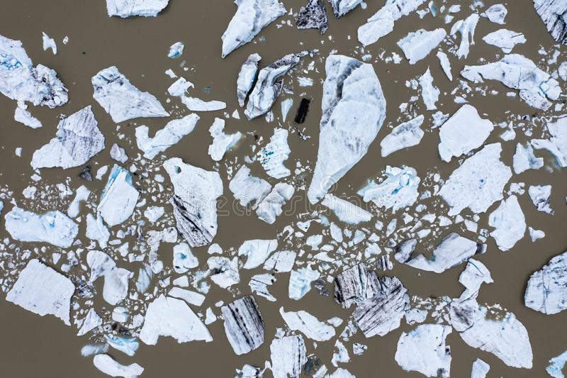 Aerial view of floating icebergs in Fjallsarlon glacier lake, Iceland royalty free stock photo