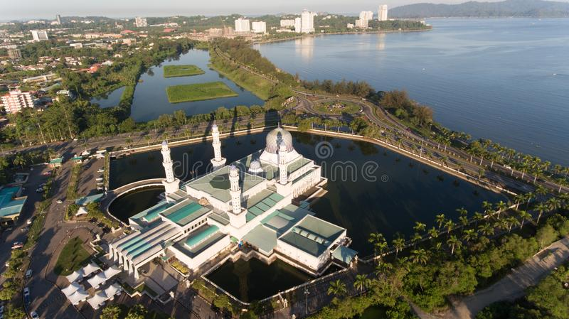 Floating Mosque Kota Kinabalu. An aerial view floating Mosque Kota Kinabalu City,Kudat,Sabah,MALAYSIA stock photography