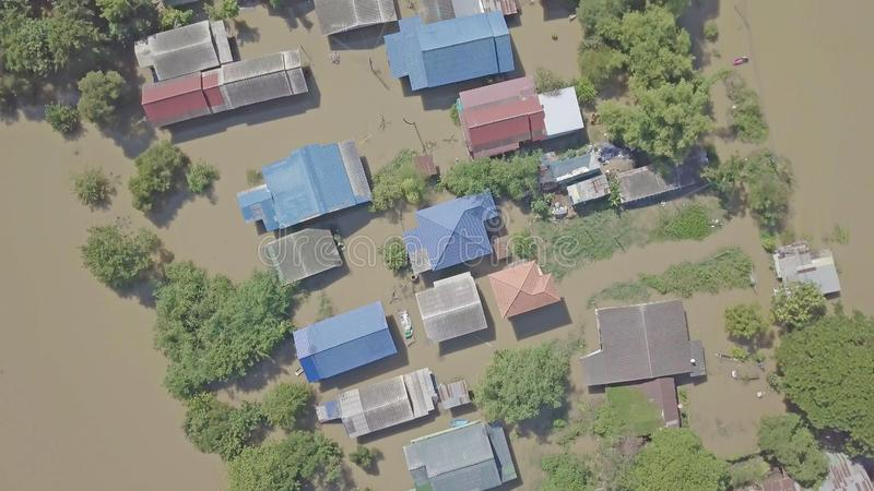 Aerial view of flood in Thailand stock photography