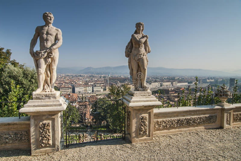 Aerial View of Florence from Bardini Gardens stock photography
