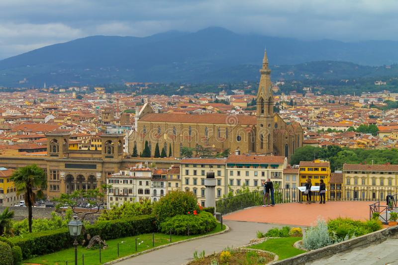 Aerial view of Florence Italy, beautiful old city full of historical amazing buildings, cathedrals and bridges. Famous tourist destination royalty free stock photography