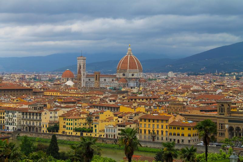 Aerial view of Florence Italy, beautiful old city full of historical amazing buildings, cathedrals and bridges. Famous tourist destination royalty free stock photo