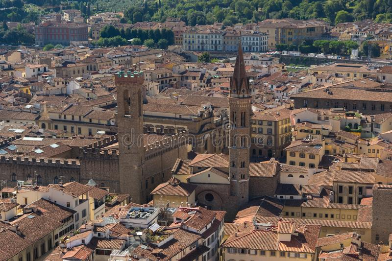 Aerial view of Florence and Palazzo Vecchio in Piazza della Signoria in Florence, Italy stock photography