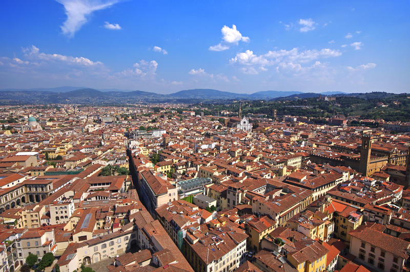 Aerial view of Florence from top of Il Duomo di Firenze stock images