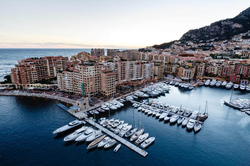 Aerial View on Fontvieille and Monaco Harbor. With Luxury Yachts, French Riviera stock images