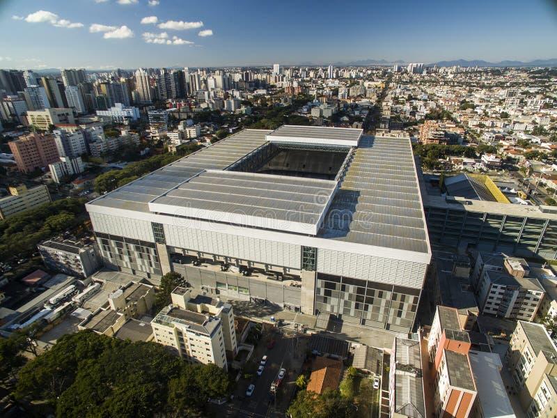 Aerial view of football stadium of the paranaense athletic club. Arena da baixada. Curitiba. Parana. July 2017. stock image