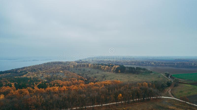Aerial view of the forest. Yellow trees. Dnieper River. Aerial view of the forest. Yellow trees. Autumn. Dnieper River stock image