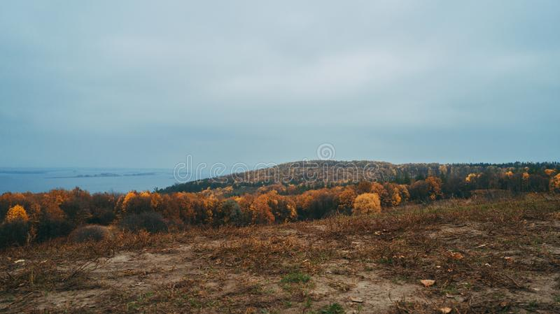 Aerial view of the forest. Yellow trees. Dnieper River. Aerial view of the forest. Yellow trees. Autumn. Dnieper River royalty free stock image