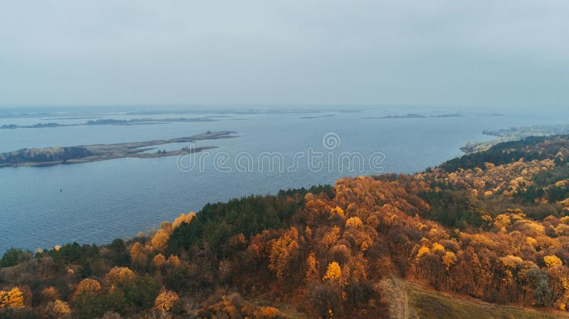 Aerial view of the forest. Yellow trees. Dnieper River. Aerial view of the forest. Yellow trees. Autumn. Dnieper River royalty free stock images