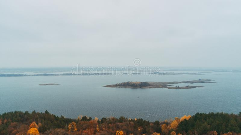 Aerial view of the forest. Yellow trees. Dnieper River. Aerial view of the forest. Yellow trees. Autumn. Dnieper River stock photo