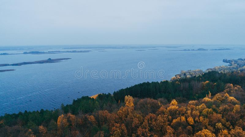 Aerial view of the forest. Yellow trees. Dnieper River. Aerial view of the forest. Yellow trees. Autumn. Dnieper River stock photos