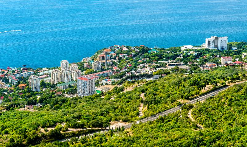 Aerial view of Foros, a town by the Black Sea in Crimea royalty free stock image
