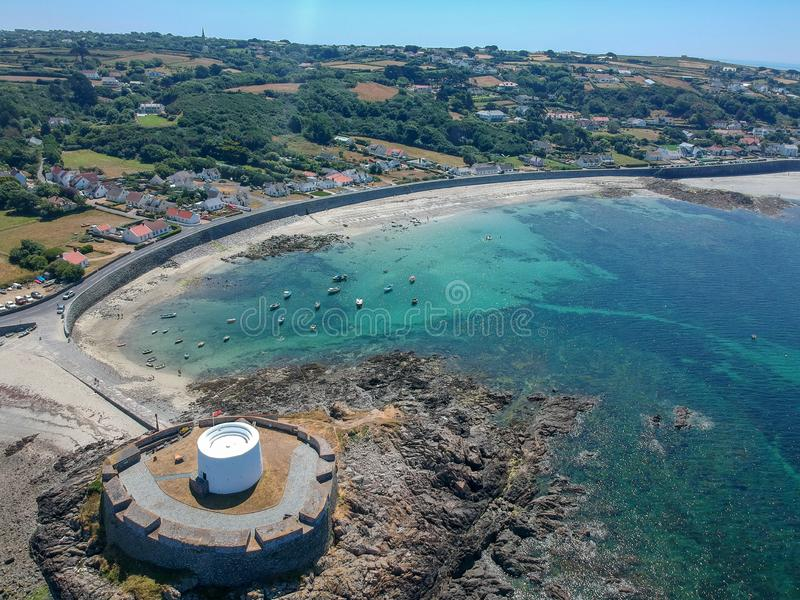Aerial view Fort grey, West coast of Guernsey. Aerial view Fort grey, built in 1804 to defend the west coast of Guernsey. wonderful beach with white sand and stock images