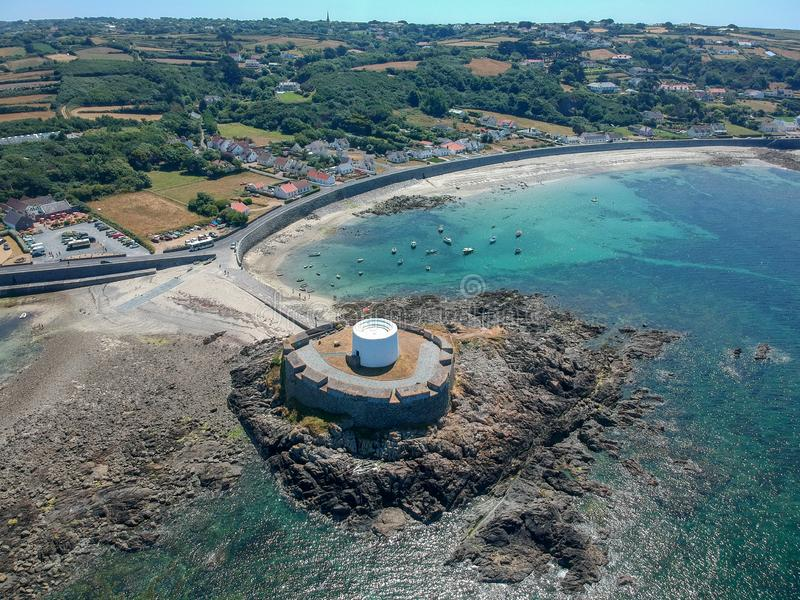 Aerial view Fort grey, West coast of Guernsey. Aerial view Fort grey, built in 1804 to defend the west coast of Guernsey. wonderful beach with white sand and stock image