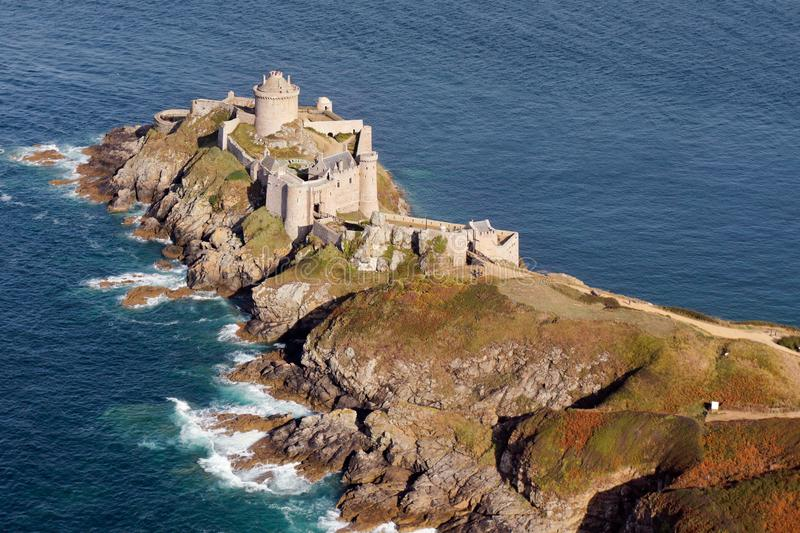 Aerial view of the Fort La latte Castle Cap Fréhel, in Brittany, France. Aerial view of the Fort La latte castle Cap Fréhel,  in Brittany region, France stock images